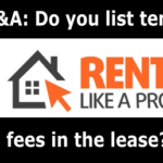 Q&A: Do you list tenant fees in the lease?